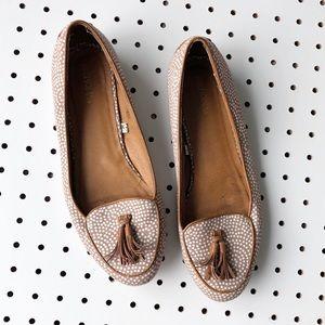 MERONA polka dot tassel loafers flats tan white